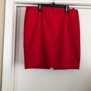 Red high waisted above knee pencil skirt